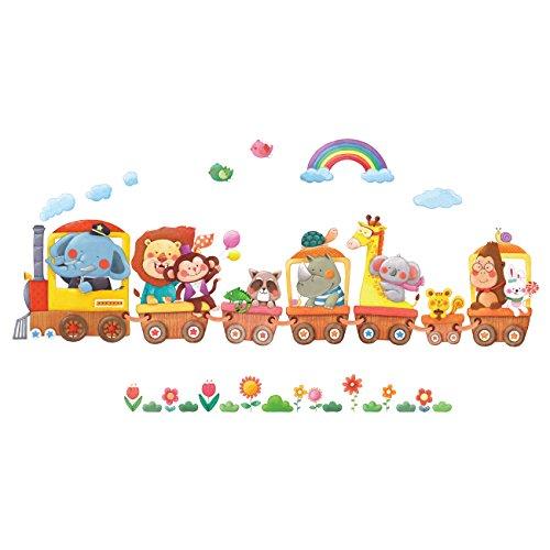 DECOWALL DS-8024 Trenes de Animales Vinilo Pegatinas Decorativas Adhesiva Pared Dormitorio Salón Guardería Habitación Infantiles Niños Bebés (Pequeña)