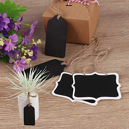 Xgood 40 Pieces Mini Chalkboards Tags Erasable Mini Blackboard Wooden Hanging Chalkboard Double Sided Chalkboard Signs Hanging Chalkboard Labels with Hanging String for Message Board Signs Kids DIY Photo #6