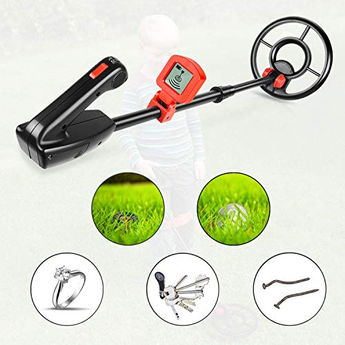 Viewee Lightweight Metal Detector for Kids/Junior/Beginners with Waterproof Search Coil & LCD Display & Shovel as Outdoor Family Leisure