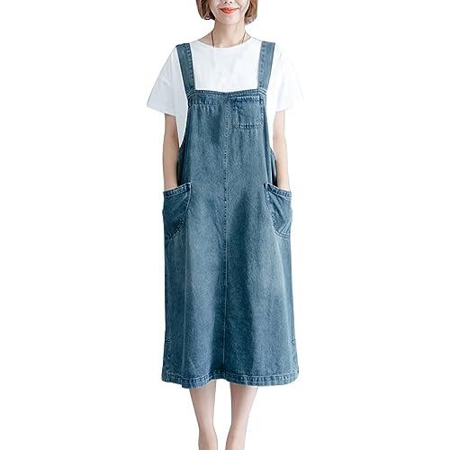15e55296e73 Womens Denim Pinafore Dress Elegant Casual Skirt Long Vest Dress Loose Fit