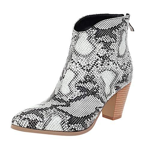 Yowablo Stiefel Frauen Herbst Schuhe Mode Square Heels Knöchel Einzelschuhe Kurz (41,Weiß)