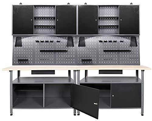 Ondis24 Werkstatt Set Klaus 240 cm 2 Schränke LED (Arbeitshöhe 85 cm, Schwarz)