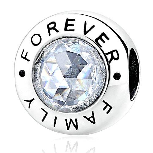 Kiss Me, charm in argento Sterling con cristalli CZ, per braccialetti Family Forever