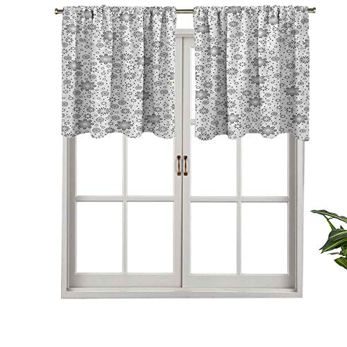 Hiiiman Indoor Privacy Window Valance Curtain Panel Mix Florals with Rotary Round Rings Dot Spots, Set of 1, 54'x18' for Sliding Patio Door/Dining