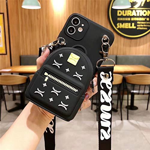 FYMIJJ Soporte para Tarjeta de crédito Funda para teléfono con Auriculares para iPhone 12 11 Pro MAX 12 Mini SE 2 7 8 Plus X XR XS MAX 6 S con Correa Cruzada, A, iPhone 11