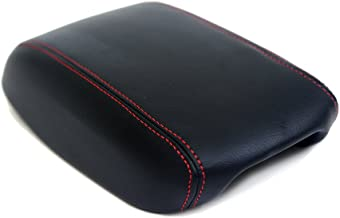 KarDesigners Fits 2013-2016 Dodge Dart Synthetic Black Leather Armrest Console Cover with Red Stitching. (Skin Only)