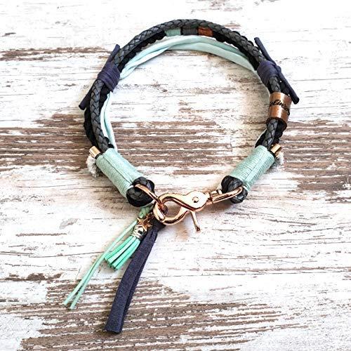 Hundehalsband *Vagabond* Piet Spearmint – Boho-Stil – Halsband für Hunde – 100% Handmade & Unique – Tauwerk aus 100% reiner Baumwolle & hochwertiges Rindslederband