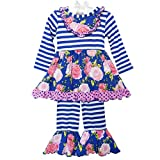 AnnLoren Boutique Clothing Little Girls' Blue Floral Party Dress & Pink Ruffle Pants Outfit Holiday Clothes sz 6 6X
