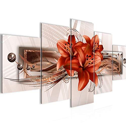 Bilder Blumen Lilien Wandbild 200 x 100 cm Vlies - Leinwand Bild XXL Format Wandbilder Wohnzimmer Wohnung Deko Kunstdrucke Braun 5 Teilig - MADE IN GERMANY - Fertig zum Aufhängen 008751b