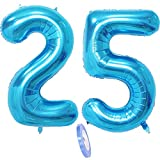 2 Globos Número 25, Número 25 Globo Blue Girl Boy Guys, Globo inflable de papel de helio de 40 Figuritas de globos azules, Globo gigante para decoración de fiesta de cumpleaños Prom (xxxl 100cm)