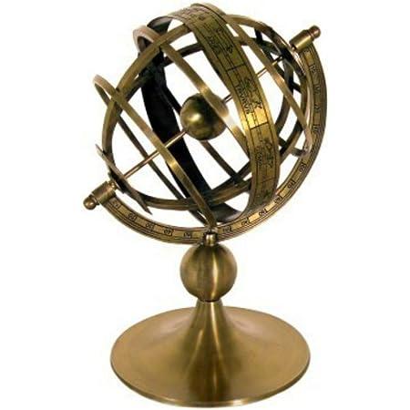 CAPRILO. Figura Decorativa de Latón Reloj Solar Esfera Armilar. Adornos y Esculturas. Decoración Hogar. Regalos Originales. 22 x 13 x 13 cm.