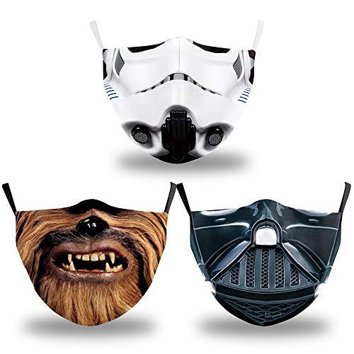 Mundschutz Maske mit Film Motiv 3 er Set // Aus Baumwolle bunt, lustig, komisch für Erwachsene und Jugendliche- Waschbar & Wiederverwendbar