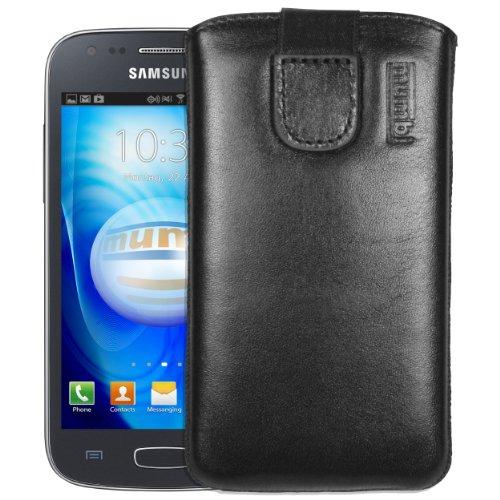 mumbi Bolso de Cuero Real Compatible con Samsung Galaxy Ace 3, (Pestaña con función de retracción, Auxiliar de extracción), Negro