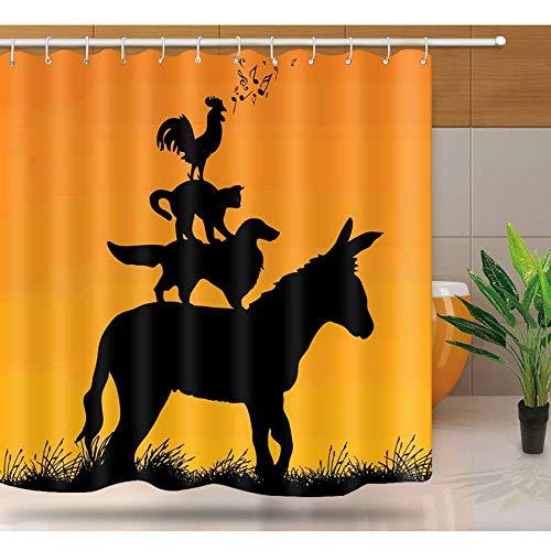 Fvfbd Bedruckter Duschvorhang Tierdämmerungs-Esel-Hühnerkatze 3D Vorhang mit 12 Stück C-Haken für Badezimmer Anti-Schimmel Wasserdich-180 x 200cm
