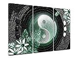 DECLINA Tableau Le Ying ET Le Yang 3 pièces Tryptique - Impression sur Toile décoration Murale Zen - Déco Maison, Cuisine, Salon, Chambre Adulte - Vert 150x100 cm