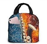 Bolsas de almuerzo para mujeres, niñas, hombres, adolescentes, niños, saxofón en fuego y agua, caja de almuerzo para trabajo, escuela, viajes y picnic