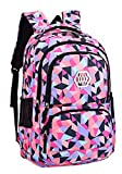 SellerFun Girl Geometric Printed Primary Junior High University School Bag Bookbag Backpack(2# Black,35L)