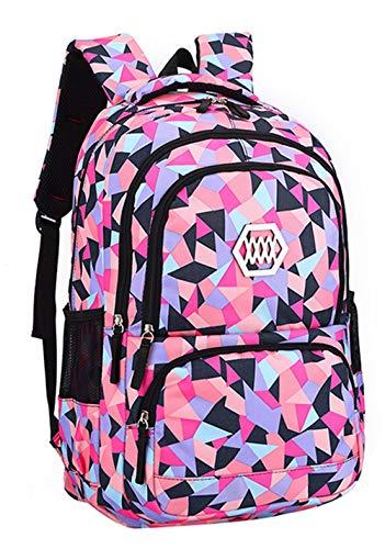 SellerFun Girl Geometric Printed Primary Junior High University School Bag Bookbag Backpack(2# Black,35L)