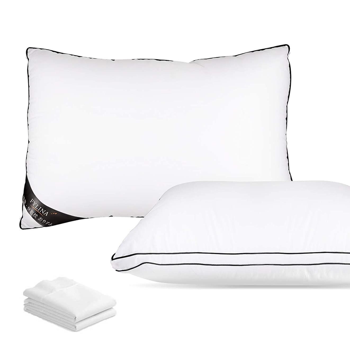 宴会シャー持続的FYLINA 枕 安眠 肩こり対策枕 高反発枕 良い通気性 快眠枕 pillow ホテル仕様 高さ調節可能 寝返りが打ちやすい 丸洗い可能 立体構造 43x63cm 枕カバー付き 一年保証
