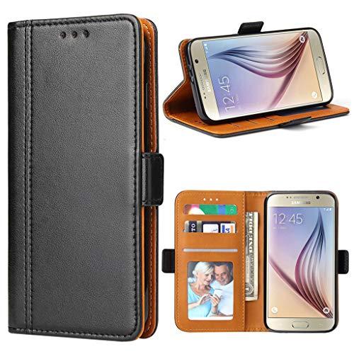 Bozon Galaxy S6 Hülle, Leder Tasche Handyhülle Flip Wallet Schutzhülle für Samsung Galaxy S6 mit Ständer & Kartenfächer/Magnetverschluss (Schwarz)