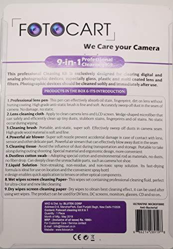 FotoCart Professional Clean Pro 9 in 1 Multi-Purpose Cleaning Kit for Cameras, Lenses, Binoculars, LCD, Laptops, Desktops, Keyboards, etc