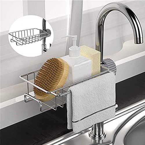 KKIN Soporte para esponjas, dispensador de jabón de baño, soporte para grifo de acero inoxidable, organizador de fregadero para accesorios de baño y cocina (pequeño)