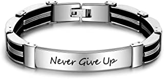 Personalized Engraved Name Stainless Steel ID Tag Bracelet Engraved Bangle Bracelets for Mens Jewelry Chrismas Gift for Him