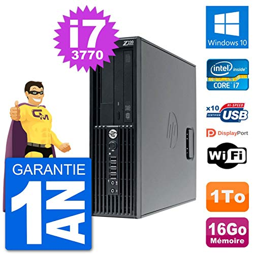 pas cher un bon HP Workstation Z220SFF Core i7-3770PC 16 Go de RAM 1 To Disque dur Windows10 WiFi (après récupération)