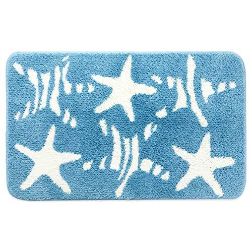 Non Slip Bath Mat for Bathroom, Blue Starfish Rug (30.7 x 18.9 in)