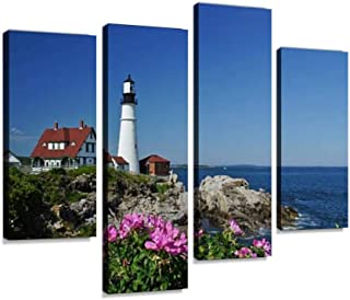 Canvas Wall Art Painting Pictures Portland Head Light Lighthouse in Maine Modern Artwork Framed Posters for Living Room Ready to Hang Home Decor 4PANEL