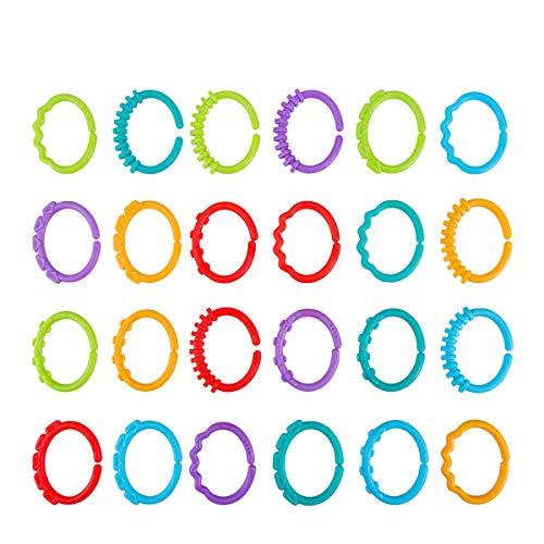 YeahiBaby 24 anillos mordedores para bebé, juguetes infantiles, sonajeros para cuna, juguetes para niños
