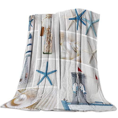 FortuneHouse8 Flanell-Fleece-Decke, gestreiftes Muster, Rot / Weiß, super weich, warm, gemütlich, für Bett, Couch, Auto, Überwurf für Kinder & Erwachsene 50x60inch Segelboot 8641