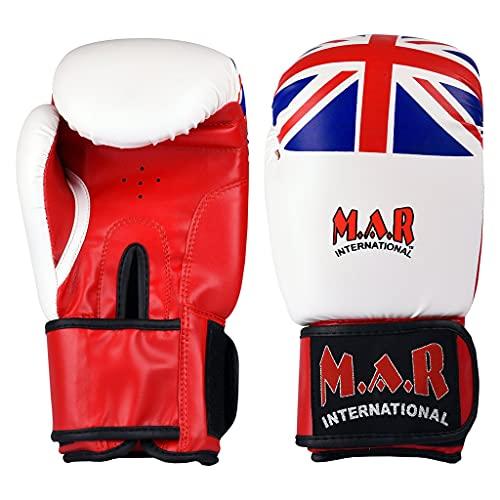 MAR International Ltd Boxing Kickboxing Gloves With Union Jack 14oz White
