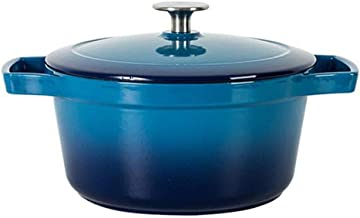 Terrines Pot Cast Iron Crucible Family Party Large Capacity Cooker Children's Food Supplement Japanese Hot Pot Fried Soup Pot Gift (Color : Blue, Size : 30.5 * 11.5cm)