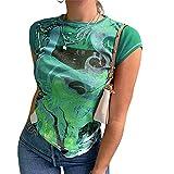Anaike Verano de las mujeres de manga corta tops florales frontales camiseta suelta, verde, M
