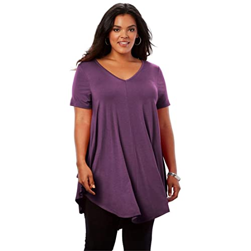 dfe67ddd36b Roamans Women's Plus Size Swing Drape Maxi Tunic with V-Neck