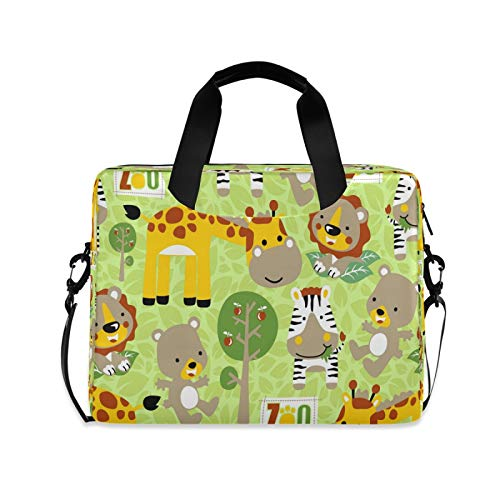 Yulife Cute Animals Giraffe Zebra Laptop Bag Sleeve Case for Women Kids Briefcase Tablet Messenger Shoulder Bag with Strap Notebook Computer Case 14 15.6 16 Inch for Kids Girls Business