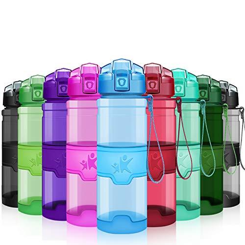 KollyKolla Bottiglia d'Acqua Sportiva 1l Tritan Borraccia a Prova di perdite con Filtro, Senza BPA Detox, Borracce per Sport, Bambini, Scuola, Ciclismo, Ufficio, Palestra, Yoga (Glossy Blu)