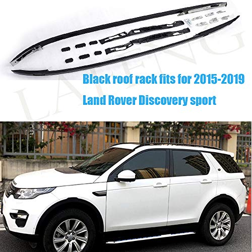 LAFENG Baca negra para techo 2015-2019 Land Rover Discovery Sport 2 piezas de aleación de aluminio portaequipajes portaequipajes rieles de techo