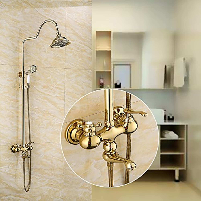 Bijjaladeva Antique Bathroom Sink Vessel Faucet Basin Mixer Tap Retro dumbbell rain shower kit gold-copper shower faucet shower