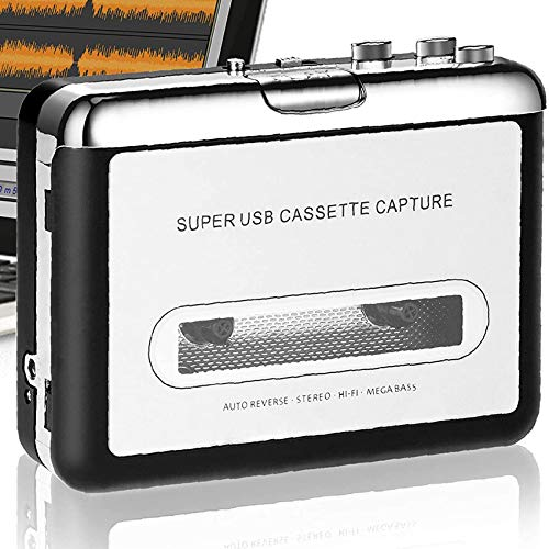 DigitalLife Portable Cassette Player Tape to MP3 Converter - Convert Audio Tape to MP3/CD on Audacity Via USB - Compatible with Mac(Intel)/Win