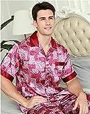 DRGE Pijama de Seda de Morera para Hombres Nuevo Traje de Dos Piezas Verano Delgado de Manga Corta Impreso Servicio a Domicilio para Hombres,Rojo,XL
