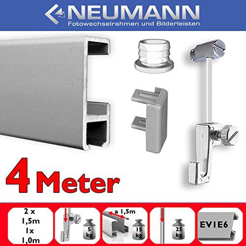 Neumann Bilderrahmen Juego de rieles para galeria, 4 m, Deslizadores de Tornillo, Plata Mate