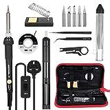 Soldering Iron Kit,Meterk 14PCS 60W Adjustable Temperature Soldering-Iron Gun Kit Soldering Tips Solder