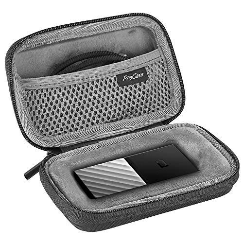 ProCase Carry Case Hülle Schutztasche Festplattenhülle für WD My Passport 1 TB 2 TB 256 GB 512 GB USB 3.1-SSD, Tragbare Externe Festplattentasche Stoßfeste Harte Eva-Hartschalen-Reisetasche –Schwarz