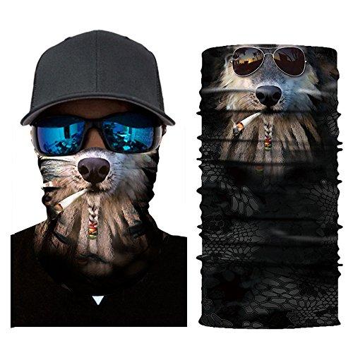 Colorful Erwachsene Multifunktionstuch | Sturmmaske | Bandana | Schlauchtuch | Halstuch für Motorrad Fahrrad Ski Paintball Gamer Karneval Kostüm 3D Tiere Maske (C)