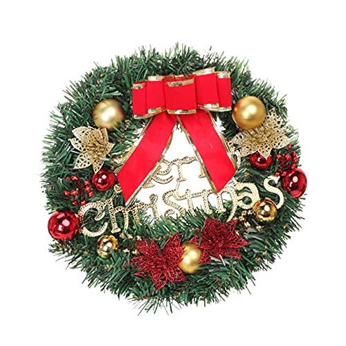 QKFON - Ghirlanda natalizia classica per porta, con lettera e decorazione regalo, da appendere, ghirlanda natalizia per porta antica, decorazione per porta, parete, finestra, 25,8 cm