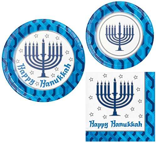 Hanukkah Menorah Party Supply Pack! Bundle Includes Paper Plates and Napkins for 8 Guests