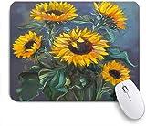 Benutzerdefiniertes Büro Mauspad,Grüne Malerei Sonnenblumen auf dunklen Garten grau Original Natur gelb Schönheit botanische Blumenstrauß Blumen,Anti-slip Rubber Base Gaming Mouse Pad Mat