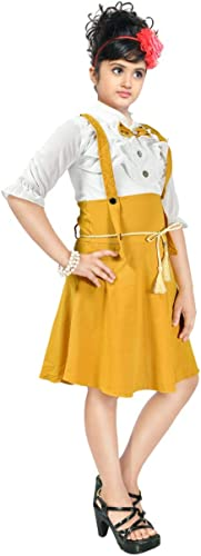 Summer Regular Fit Knee Length Bow Neck Pinafore Yellow Dress for Girls